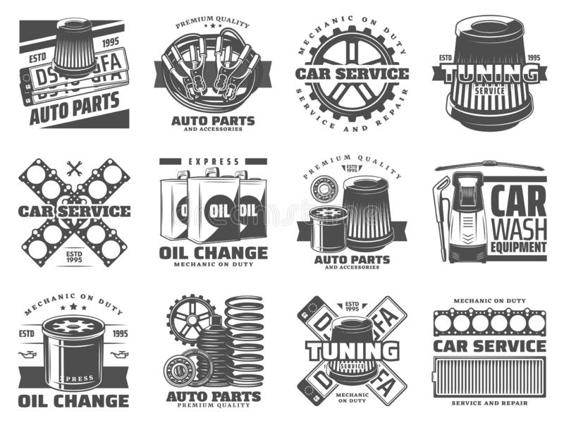 Samochód usługowe dodatkowe części, auto nastrajanie i motorowy olej, ilustracja wektor
