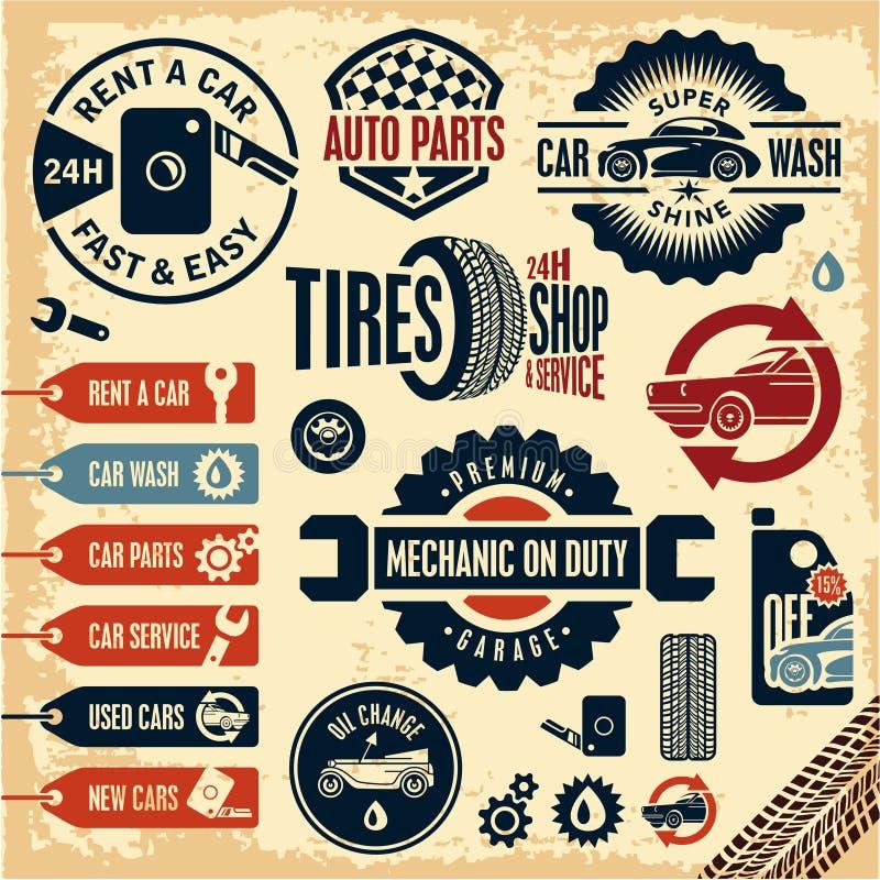 Samochód usługowe ikony Auto części Dzierżawi samochód samochodowy czysty wąż elastyczny maszyny gąbki obmycie Rocznika samochodu ilustracji