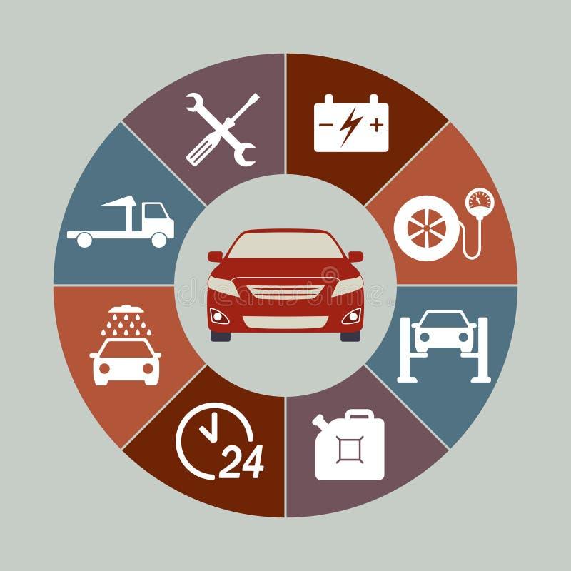 Samochód usługowe ikony ustawiają odosobnionego w round mapie Samochód Usługowy Infographics również zwrócić corel ilustracji wek ilustracji