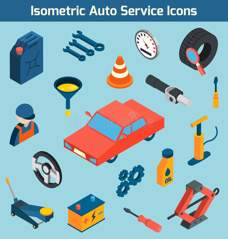Samochód Usługowe Isometric ikony Ustawiać royalty ilustracja