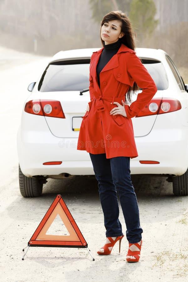 samochód uszkadzał jej kobiety obraz stock