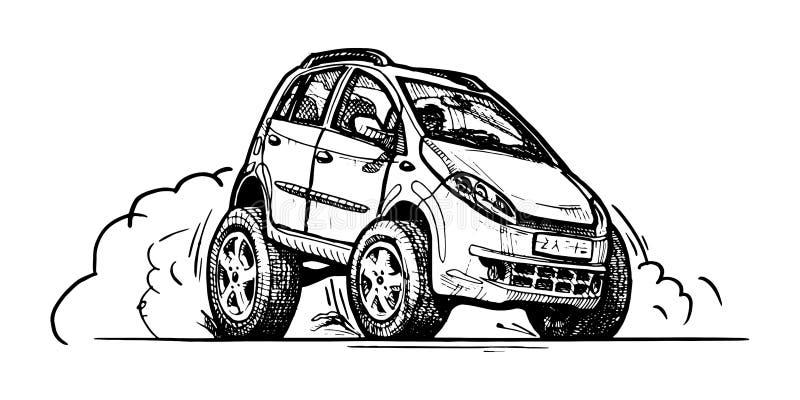 Samochód w komiczka stylu royalty ilustracja
