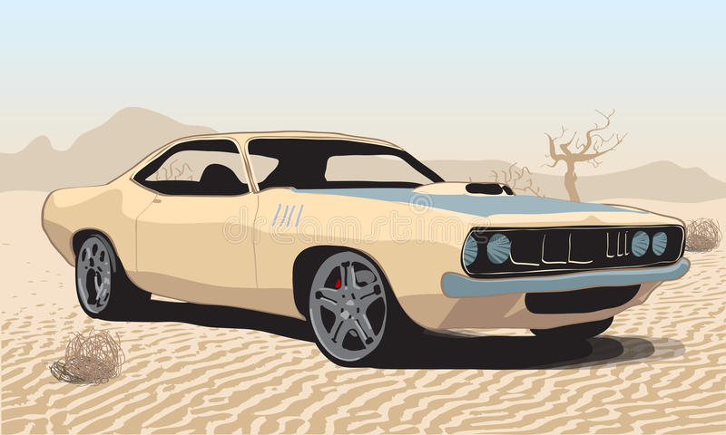 Samochód w pustyni royalty ilustracja