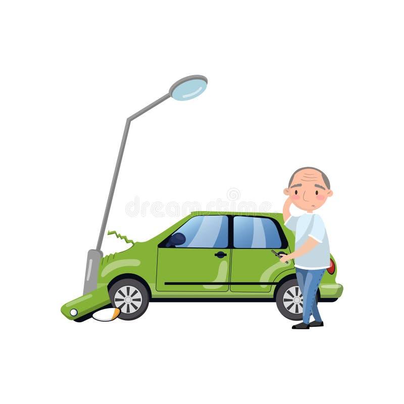 Samochód wpadać na siebie przy latarnią, mężczyzna uczucie szokował, ubezpieczenie samochodu kreskówki wektoru ilustracja ilustracja wektor