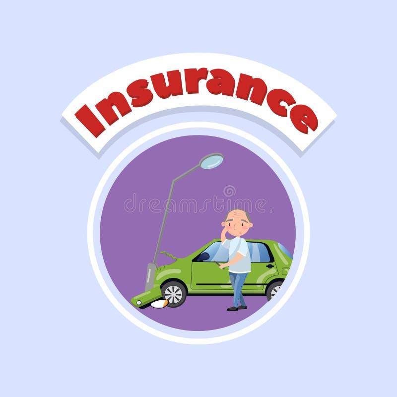 Samochód wpadać na siebie przy latarnią, ubezpieczenia samochodu pojęcia wektorowa ilustracja w kreskówka stylu ilustracji