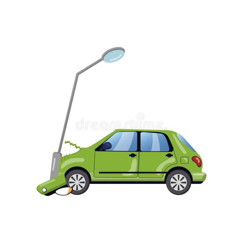 Samochód wpadać na siebie przy latarnią, ubezpieczenie samochodu kreskówki wektoru ilustracja ilustracji