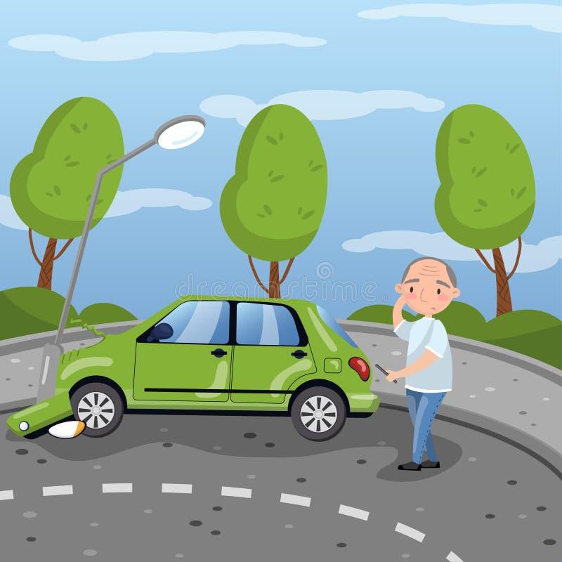 Samochód wpadać na siebie przy latarni wektorową ilustracją w kreskówka stylu projekta elemencie dla plakata lub sztandaru ilustracji