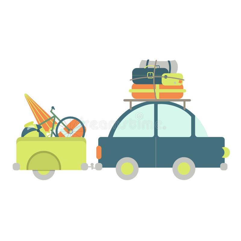 Samochód z bagaż przyczepą royalty ilustracja