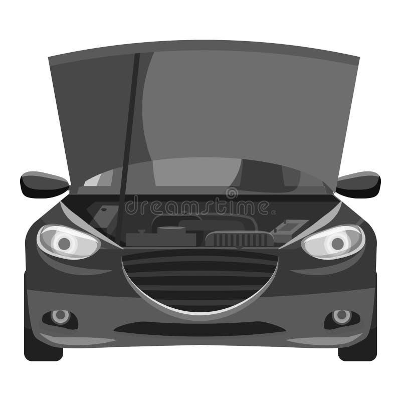 Samochód z otwartą kapiszon ikoną, szary monochromu styl royalty ilustracja