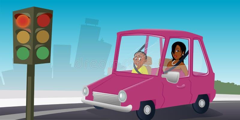 Samochód z pasażerami przy stopsign ilustracji