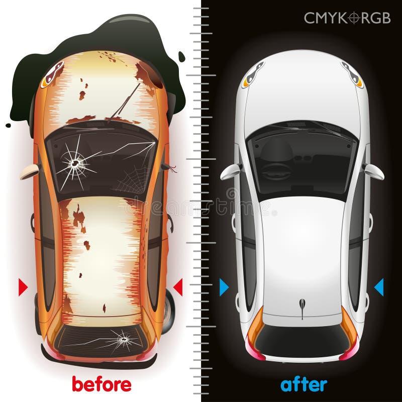 Samochód Zanim naprawa i Póżniej ilustracji