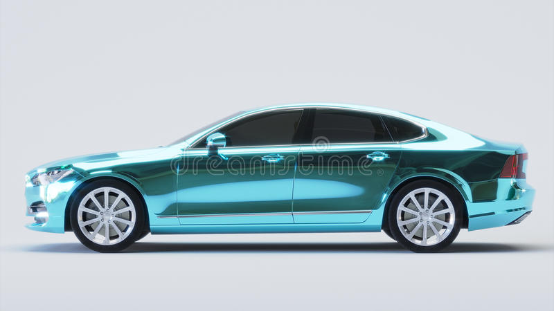 Samochód zawijający w błękitnym chromu filmu świadczenia 3 d ilustracja wektor