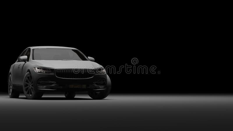 Samochód zawijający w czarnym matte filmu świadczenia 3 d fotografia royalty free