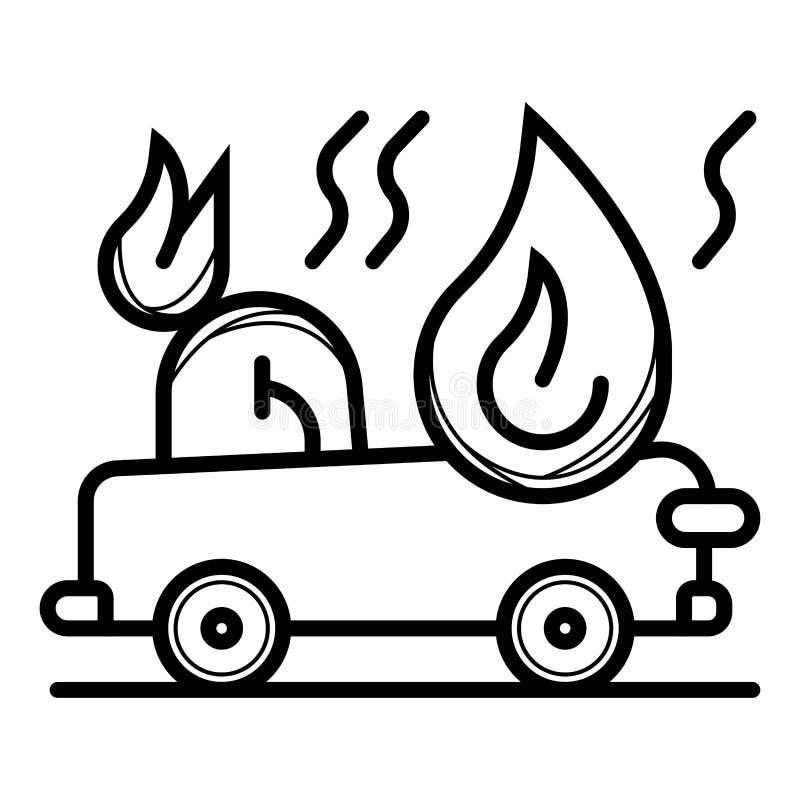 Samoch?d podpalaj?ca pojazdu ubezpieczenia ikona ilustracji