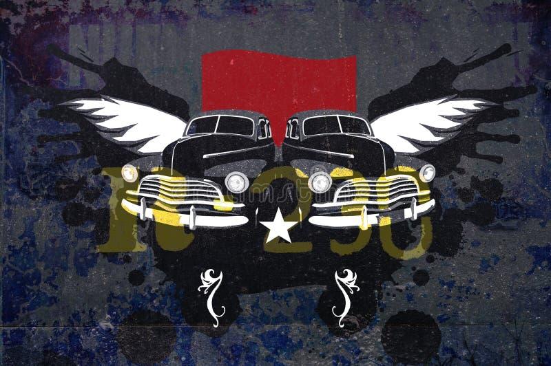 samochodów grunge rocznik royalty ilustracja