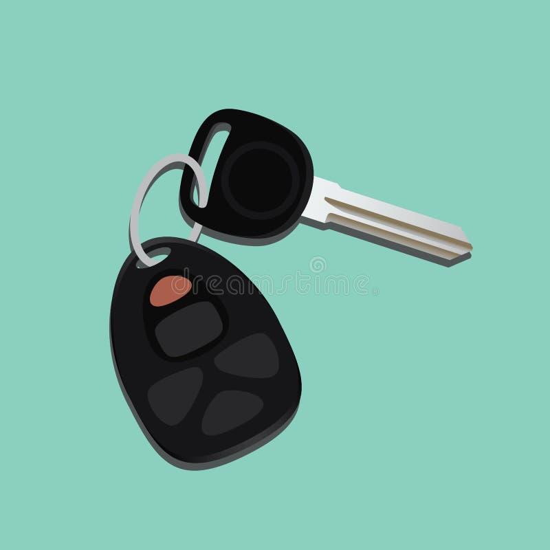 Samochodów klucze odizolowywający z czerni i zieleni tłem royalty ilustracja