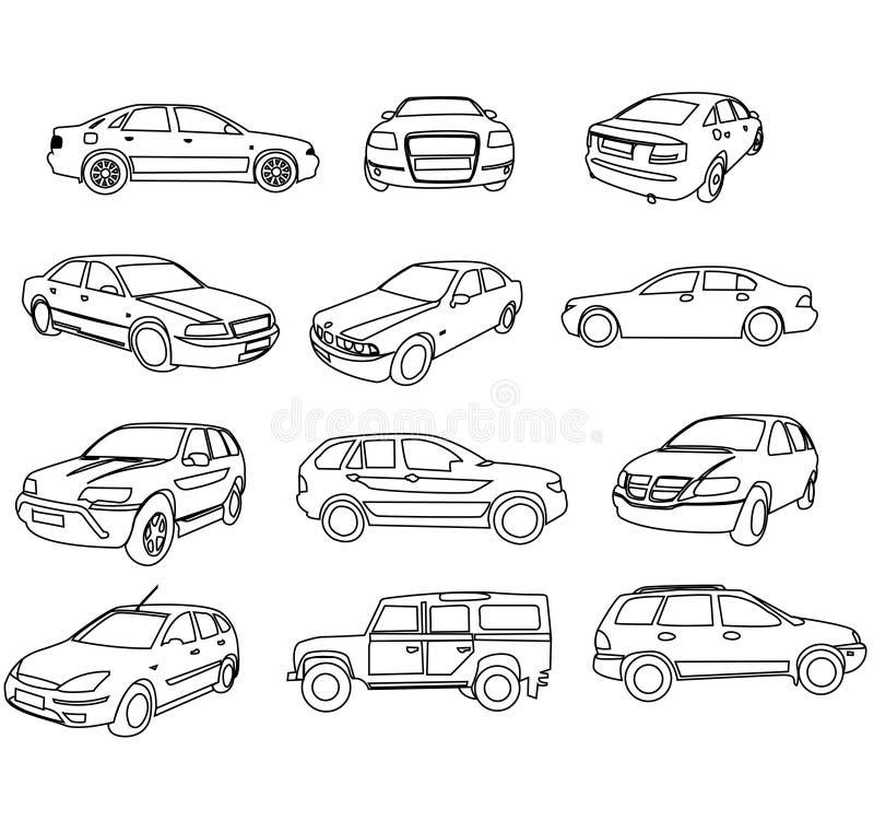 samochodów konturów wektor royalty ilustracja