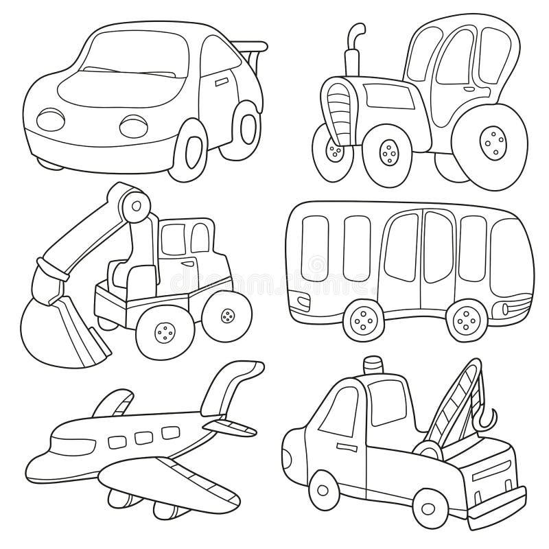 samochodów kreskówka barwiący wielo- zabawek transport książkowa kolorowa kolorystyki grafiki ilustracja royalty ilustracja