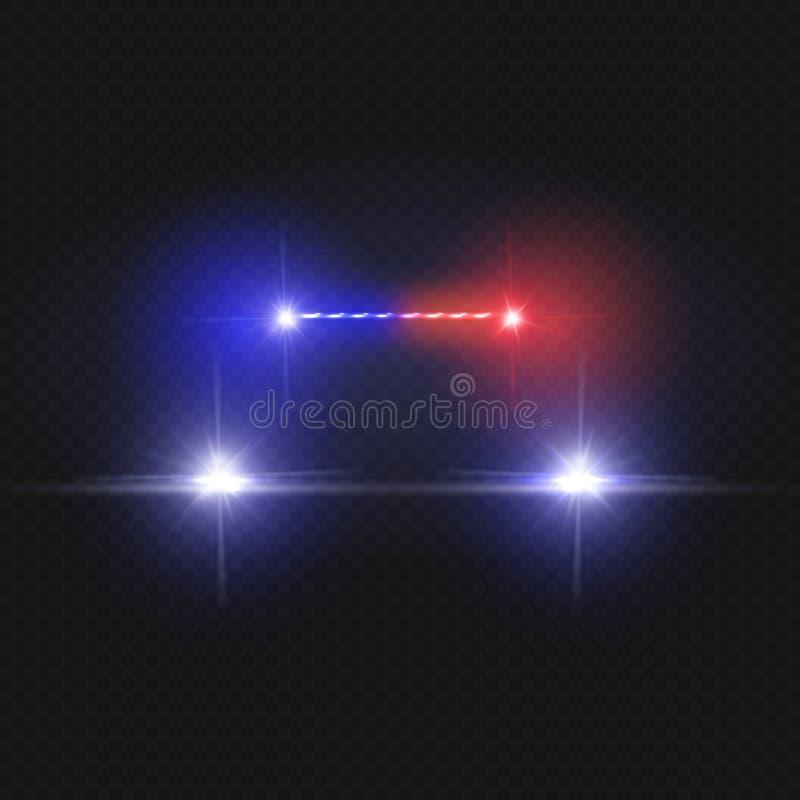 Samochodów policyjnych reflektory i mruganie syreny czerwoni światła odizolowywający na przejrzystym tle ilustracja wektor
