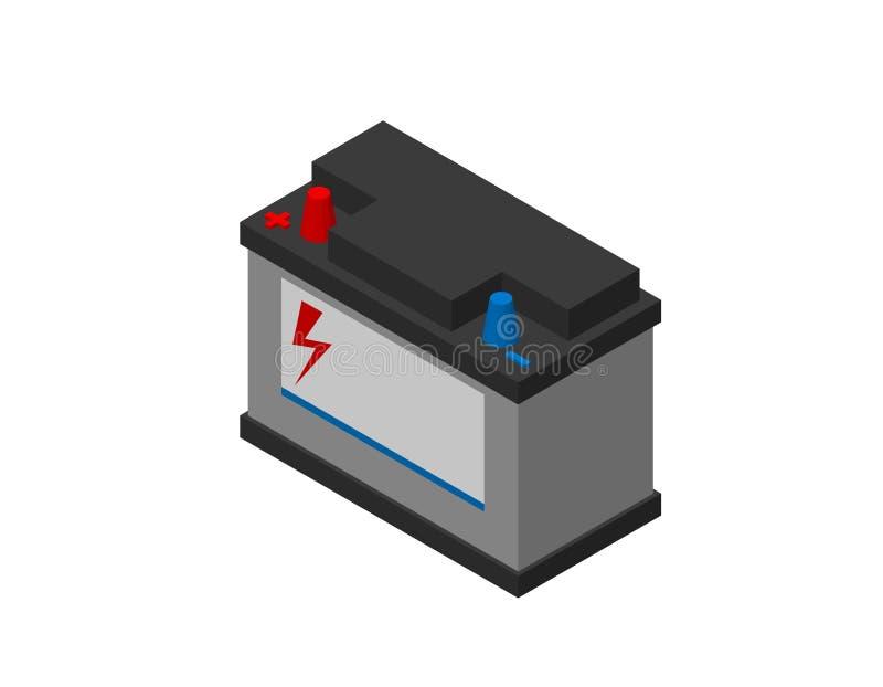 Samochodowa accumulator bateria pojedynczy białe tło 3d wektor ilustracja wektor