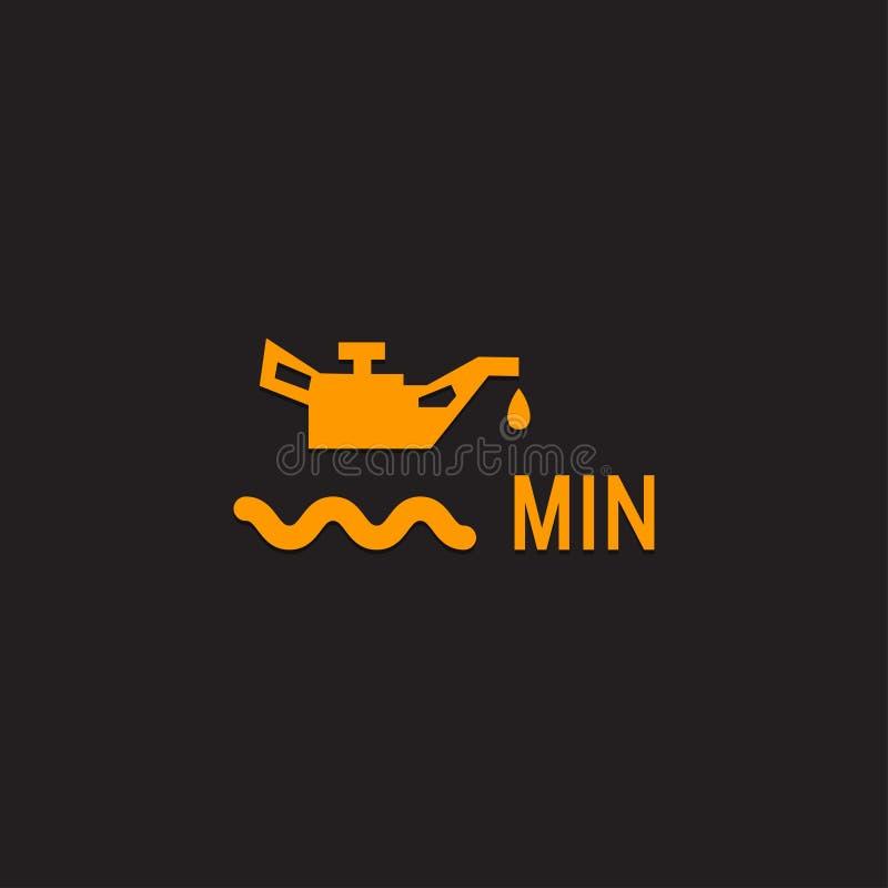 Samochodowa deska rozdzielcza panelu ikona na czarnym tle Parowozowego oleju Równy wskaźnik royalty ilustracja