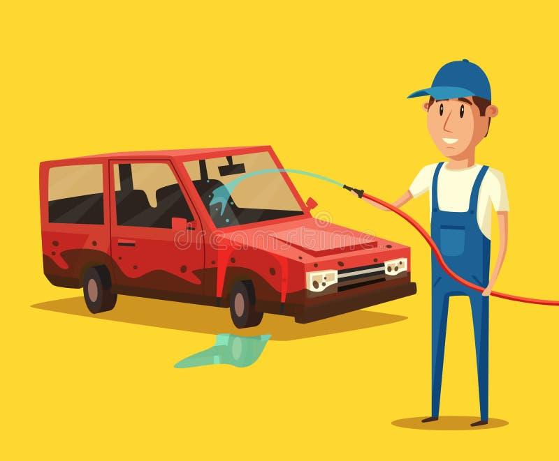 Samochodowa domycie usługa chłopiec kreskówka zawodzący ilustracyjny mały wektor ilustracja wektor