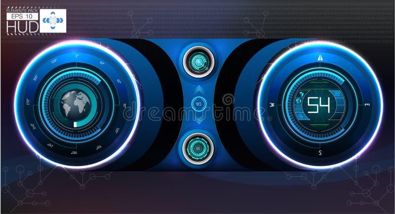 samochodowa HUD deska rozdzielcza Abstrakcjonistyczny wirtualny graficzny dotyka interfejs użytkownika Futurystyczny interfejs uż ilustracja wektor