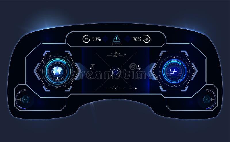 samochodowa HUD deska rozdzielcza Abstrakcjonistyczny wirtualny graficzny dotyka interfejs użytkownika Futurystyczny interfejs uż ilustracji