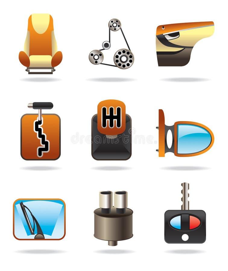 samochodowa ikona rozdzielać set ilustracji