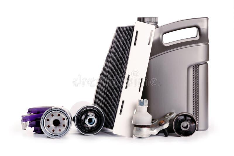 Samochodowa inspekcja, dodatkowe części, samochodowi akcesoria, lotniczy filtry, hamulcowy dysk, reflektory zdjęcia royalty free