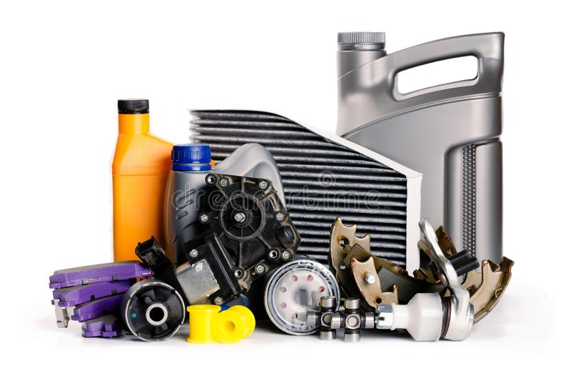 Samochodowa inspekcja, dodatkowe części, samochodowi akcesoria, lotniczy filtry, hamulcowy dysk, samochodowe części zdjęcia royalty free