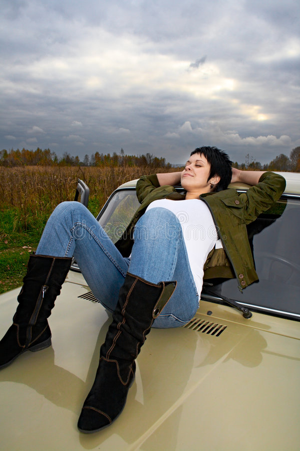 samochodowa kobieta zdjęcie stock