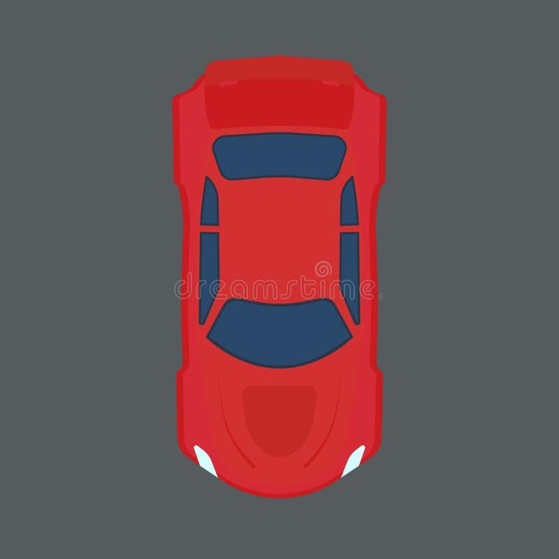 Samochodowa odgórnego widoku wektoru ikona Czerwonej ruch drogowy kreskówki auto pojazd nad Prędkość sporta płaski maszynowy elem royalty ilustracja