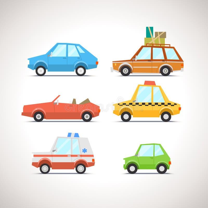 Samochodowa Płaska ikona Ustawia 1 royalty ilustracja