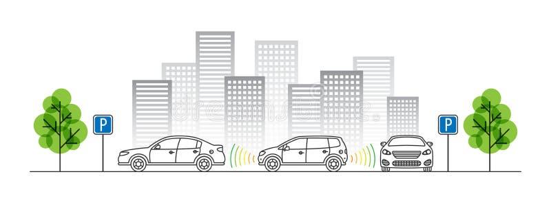 Samochodowa parking czujnika wektoru ilustracja ilustracja wektor