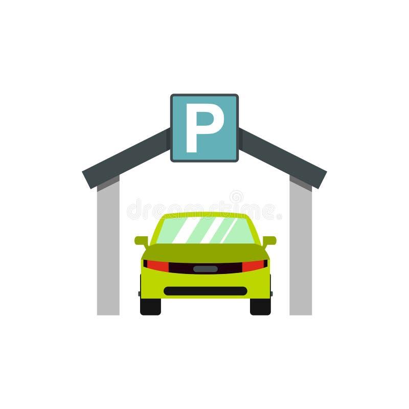 Samochodowa parking ikona, mieszkanie styl royalty ilustracja
