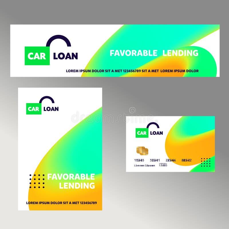 Samochodowa pożyczka Szablonu pieniężny znak, logo, odznaka z otwartym kędziorkiem Pojęcie sztandar, ulotka dla korporacyjnej toż ilustracja wektor