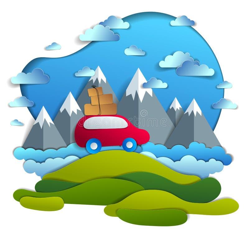 Samochodowa podróż i turystyka, czerwona furgonetka z bagażem jeździeckim z drogi z halnymi szczytami w tle, chmury w niebie, tap ilustracji