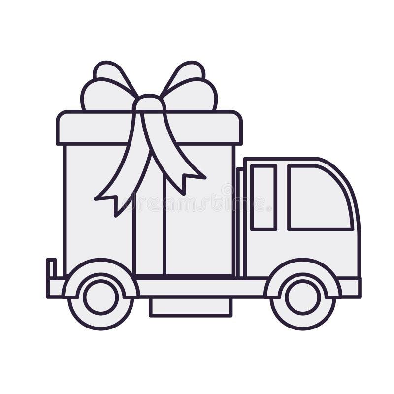 Samochodowa przewożenie prezenta pudełka odosobniona ikona ilustracja wektor