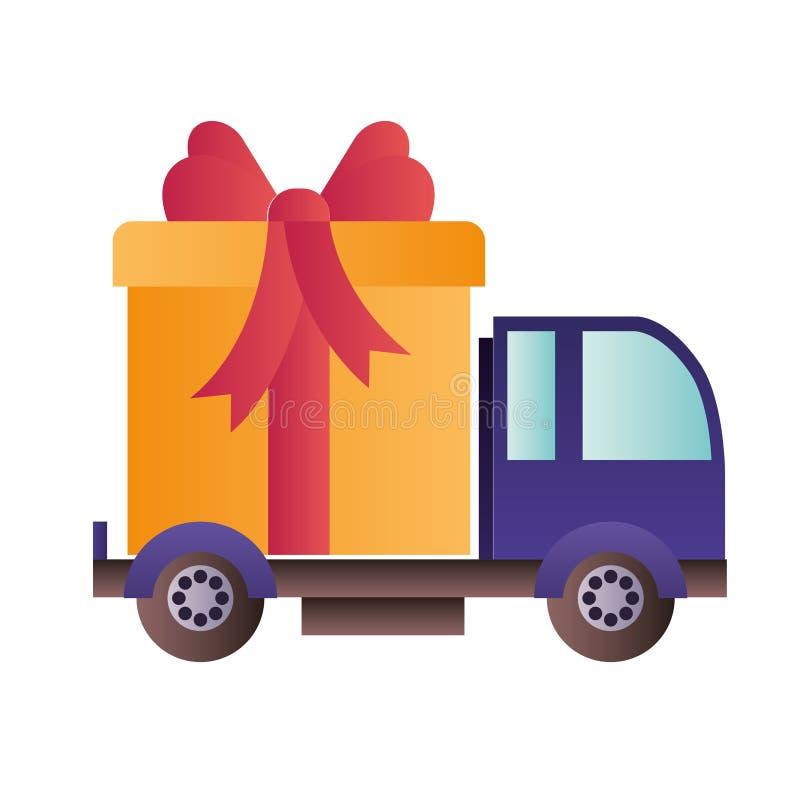 Samochodowa przewożenie prezenta pudełka odosobniona ikona ilustracji