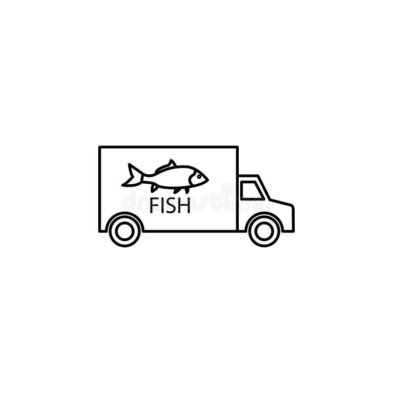 samochodowa przewożenie ryba ikona Element połowu przemysłu ikona dla mobilnych pojęcia i sieci apps Cienka kreskowa samochodowa  royalty ilustracja