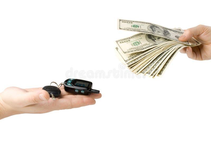 samochodowa ręka wpisuje pieniądze obraz stock