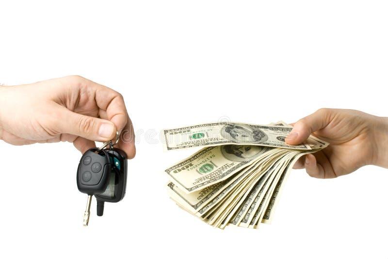 samochodowa ręka wpisuje pieniądze fotografia royalty free