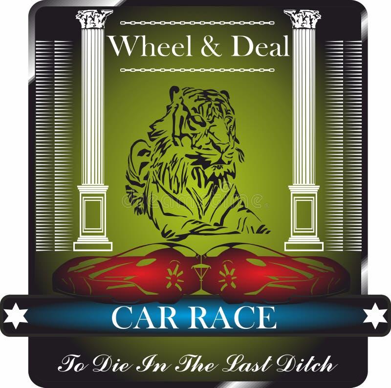 Samochodowa rasa, koło i transakcja, graficzny projekt dla koszula, odznaka, logo royalty ilustracja