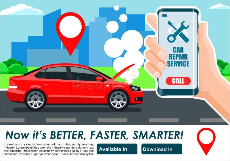 Samochodowa remontowej usługa app sztandaru chłodno ilustracja ilustracji