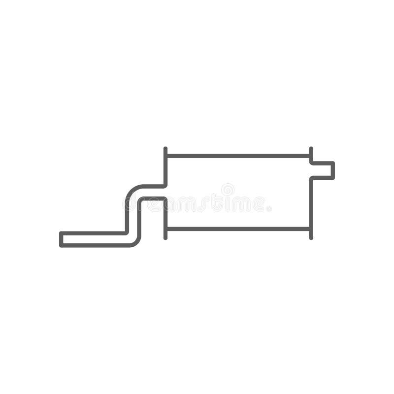 Samochodowa silencer ikona Element Samochodowy repear dla mobilnego poj?cia i sieci apps ikony Kontur, cienka kreskowa ikona dla  ilustracji