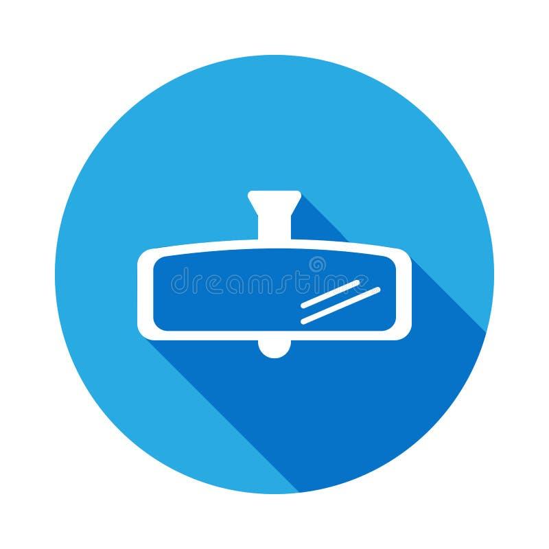 samochodowa tylni widoku lustra ikona z długim cieniem Element samochodowe remontowe usługi ilustracyjne Znaki i symbol ikona dla ilustracji