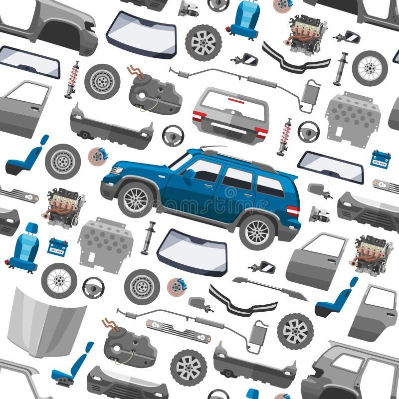 Samochodowa usługowych części auto mechanika płaska naprawa maszyny i wyposażenia wektorowy bezszwowy deseniowy tło royalty ilustracja