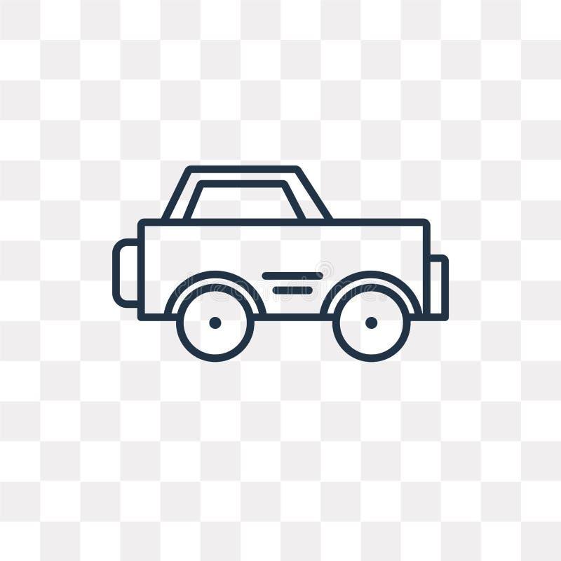 Samochodowa wektorowa ikona odizolowywająca na przejrzystym tle, liniowy samochód t ilustracja wektor