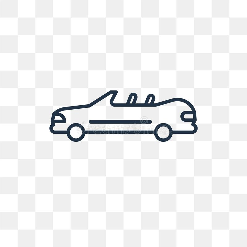 Samochodowa wektorowa ikona odizolowywająca na przejrzystym tle, liniowy samochód t ilustracji